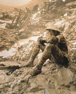 WWI - a solider in trenches